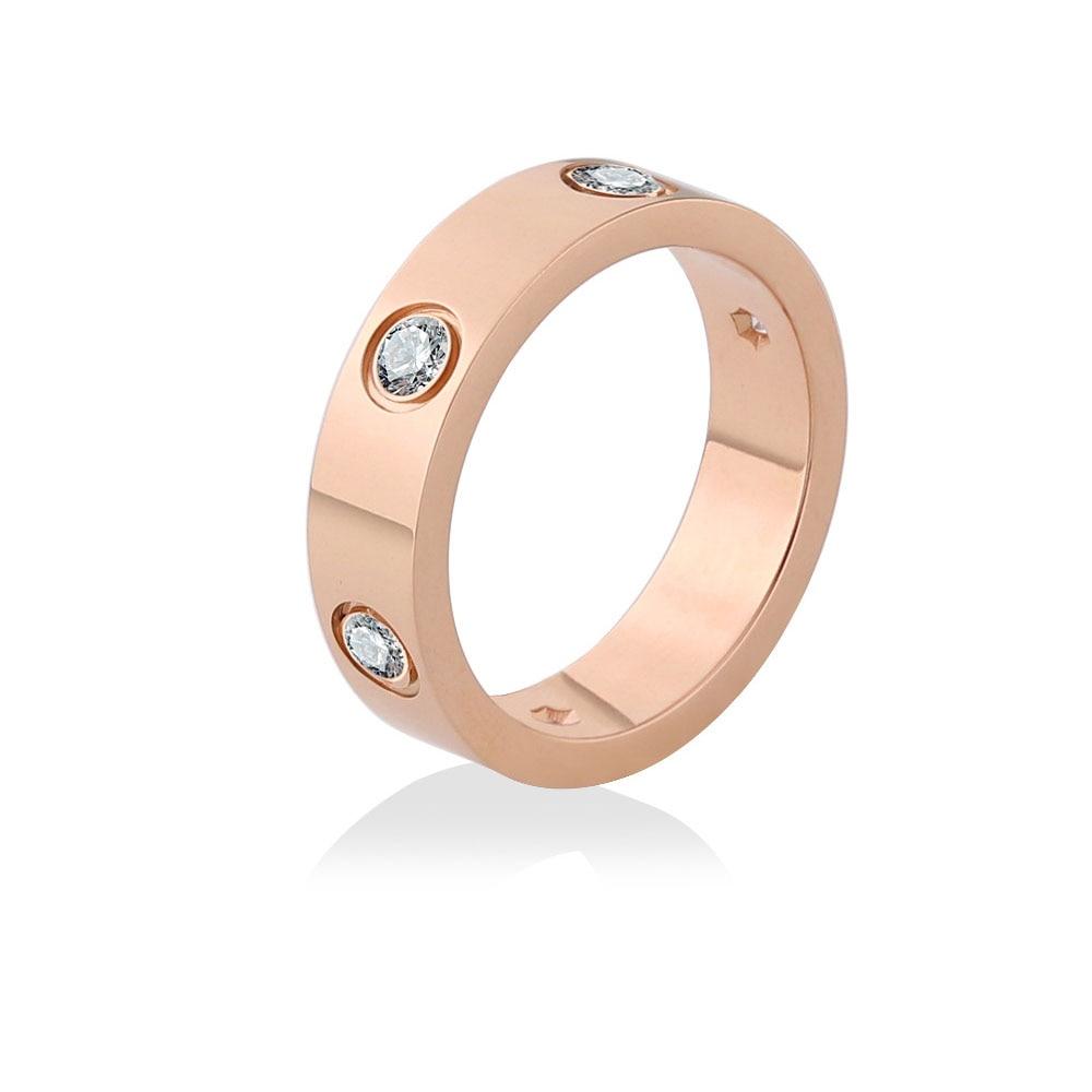 Anillo de boda de acero inoxidable 316L para hombre, oro rosa Cz Zircon, anillo de compromiso para matrimonio, joyería de diseño de lujo para mujer