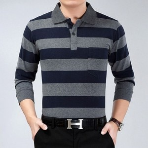 High Quality 100% Cotton Striped Men's Polo Shirt Autumn Casual Large Long Sleeve Polo Shirt Middle-aged Men's Gift Top For Dad