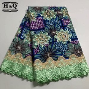 H&Q newest african batik lace wax fabric 100% cotton embroidery 6 yards/piece nigerian guipure laces water soluble fabrics H1050