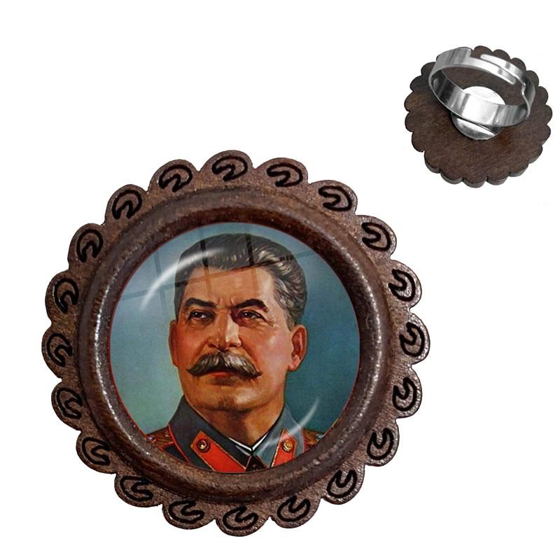Anillos de madera ajustables Lenin de la URSS soviética, Estrella Roja clásica, martillo, Hoz, emblema del comunismo, CCCP, cabujón de cristal, anillo de encanto