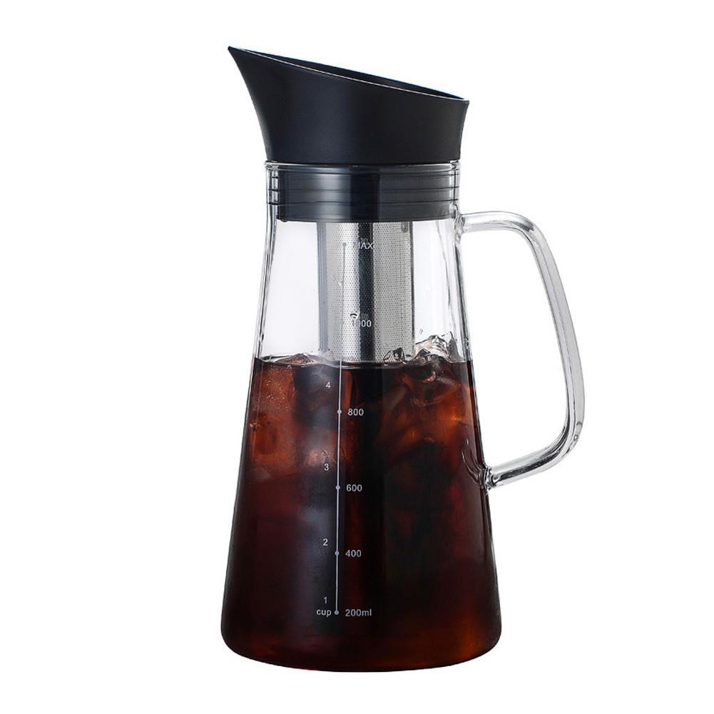 1000 مللي وعاء قهوة من الزجاج مع فلتر صافي المحمولة مقاومة للحرارة زجاج بوروسيليليك مرتفع إبريق زجاج اكسسوارات المطبخ