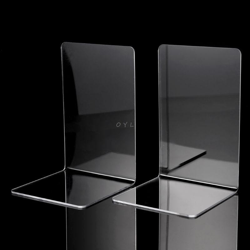 AliExpress - 2Pcs Clear Acrylic Bookends L-shaped Desk Organizer Desktop Book Holder School Stationery Office Accessories
