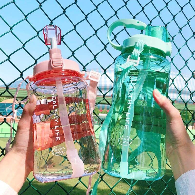 Directo de fábrica, precio de 1500ML, 1000ml, 2000ml, moda portátil, Herbalife Nutrition, coctelera personalizada con tirantes, botella de agua con pajita