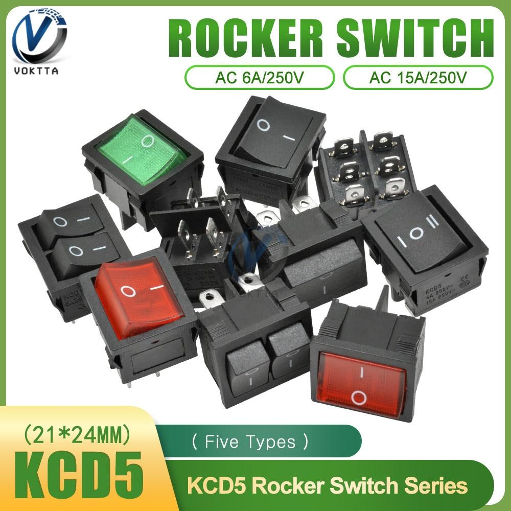KCD5 interruptor basculante 4/6Pin-DE/en--en posición de 2/3 6A 250V 21x24 MM botón de encendido del barco con LED