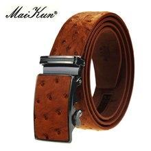 Maikun-Cinturón de cuero con hebilla automática para hombre, cinturón Masculino de lujo con diseño Original de grano de avestruz