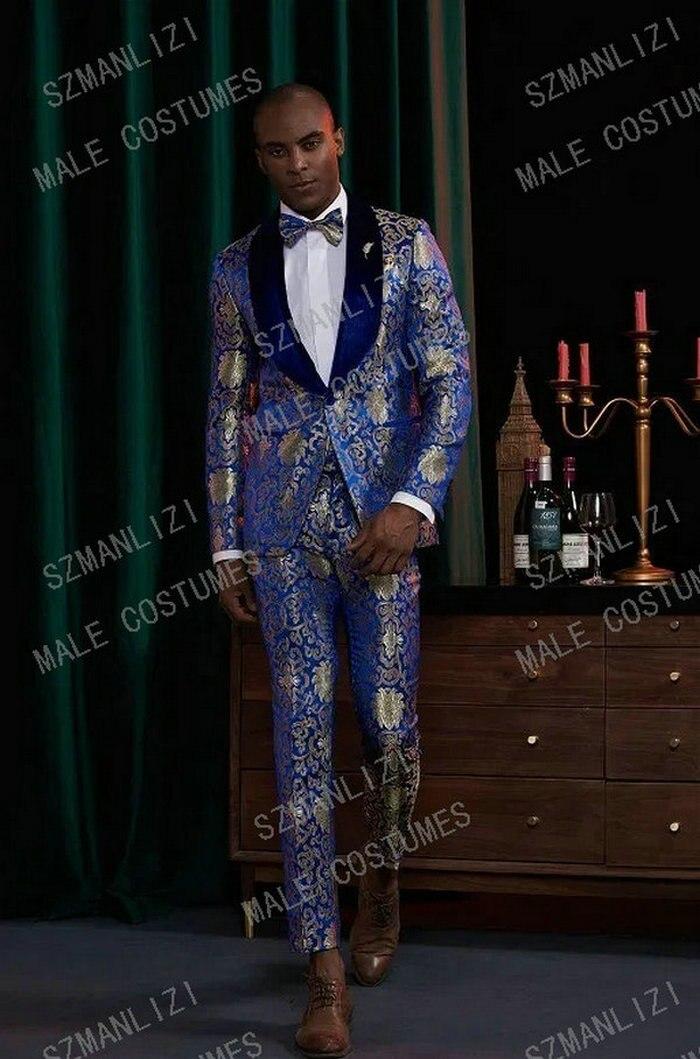 بدلة رجالية بتصميم الأزهار ، بدلة زفاف من المخمل مع طية صدر السترة ، بدلة زرقاء ملكية ، عصرية ، مجموعة جديدة 2021