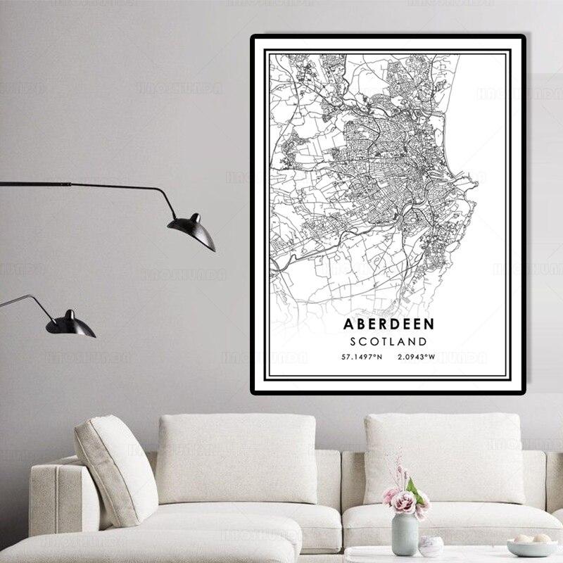 Mapa de ciudades del mundo en blanco y negro, arte de pared...