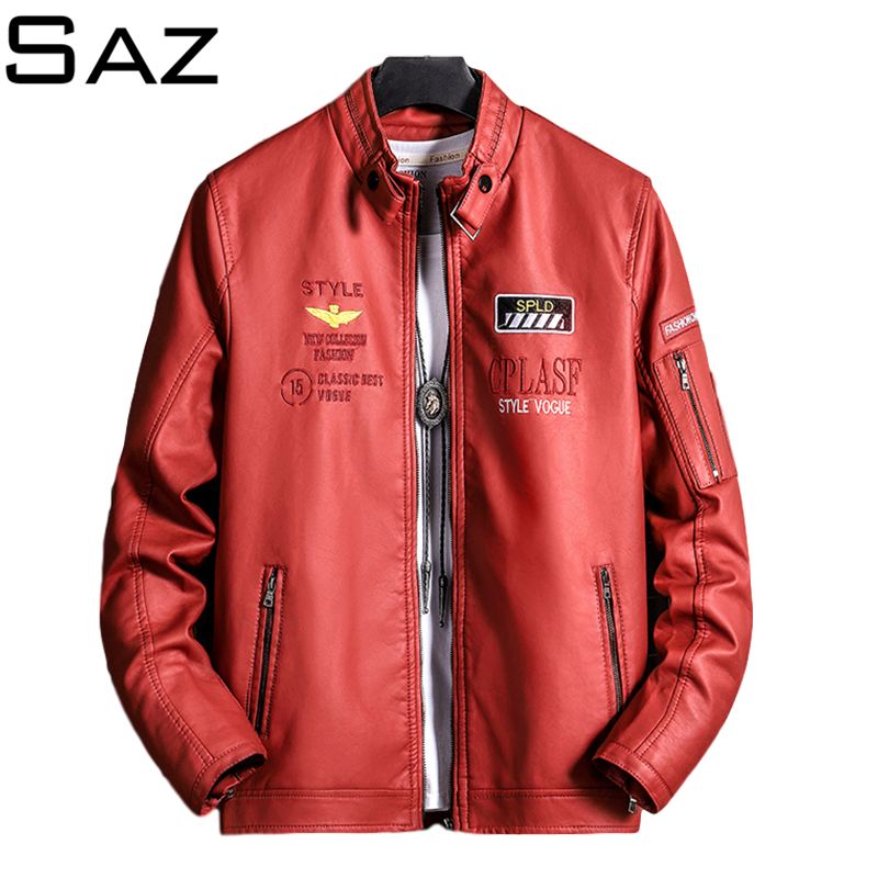 Saz Mens Leather Coat Autumn Winter Pilot Bomber Leather Jacket Mens Casual Motorcycle Male Coat Jacket 100% quality men clothing coat jacket real leather winter male jacket motorcycle zipper stand brown genuine leather jacket mens