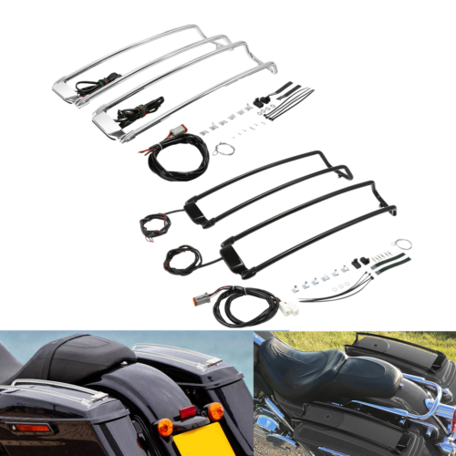 saddlebag lids speaker upper cover for harley touring road king electra street glide 2014 up gloss black motorcycle accessories Motorcycle Saddlebag Lid Rack Top Rail Guard For Harley Touring Road king Electra Glide Street Glide ultra 1994-2013 2012 2011