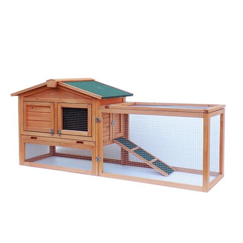 """61 """"Водонепроницаемый двухъярусный деревянный загон для кролика клетка курятник дом кролик курица животное задний двор Ru"""