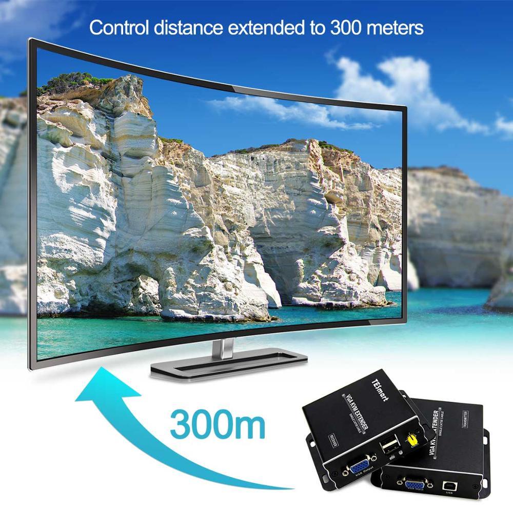 USB VGA KVM Extender 300m 1080P 60Hz Long Range 984ft Over Cat5e Cat6 Ethernet Cable VGA Extender ( up to 300m, Sender+Receiver) enlarge
