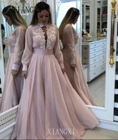 2020 soiree long evening dresses 2020 high collar full sleeves lace appliques floor length evening dress formal party gowns