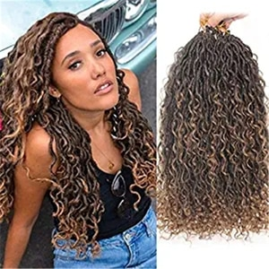 ELEGANT MUSES Synthetic Crochet Braids Passion Twist River Goddess Braiding Hair Extension Ombre Brown Faux Locs With Curly Hair