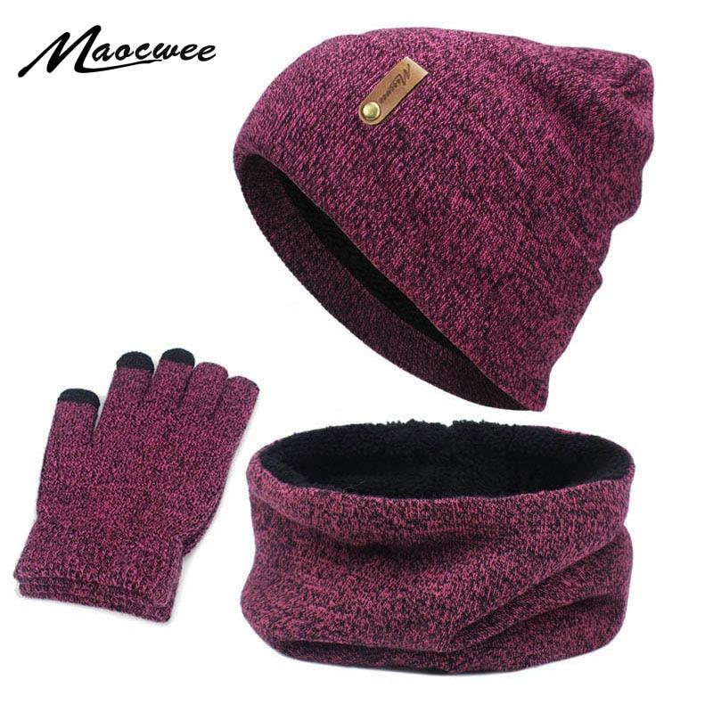 Nueva bufanda de punto guantes sombrero conjunto femenino círculo cuello pantalla táctil dedo cálido boina bufandas guante algodón conjunto de tres piezas caliente