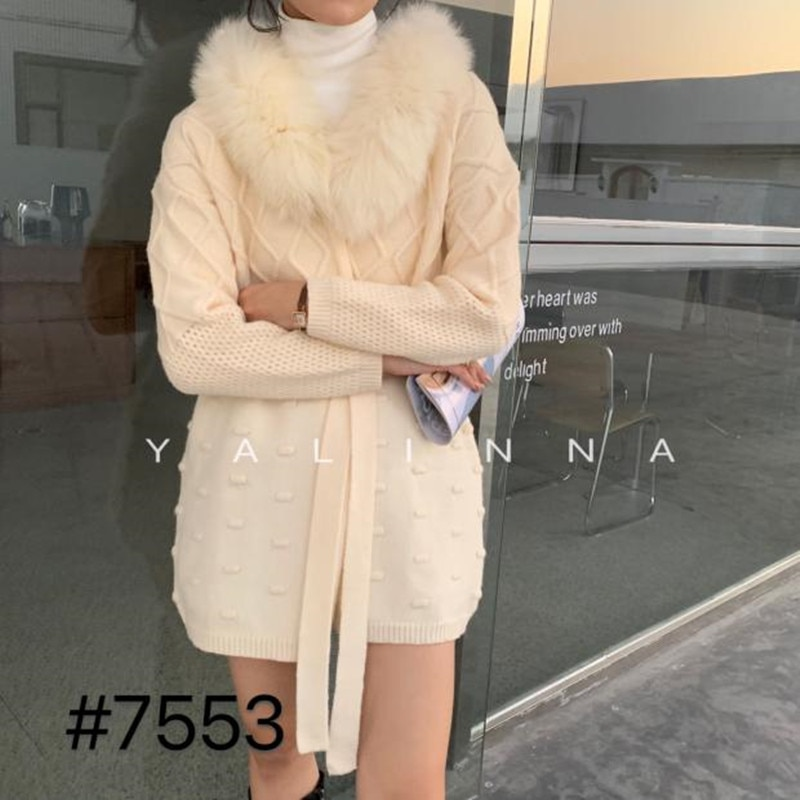 Women 's sweater coat 2021 new loose commuting temperament mid - length real fox fur collar knitted lace cardigan sweater enlarge