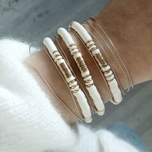 Boho Heshi Polymer Clay Disc Beads Bracelet Women Summer Adjustable Charm Bracelet Femme Homme Jewelry
