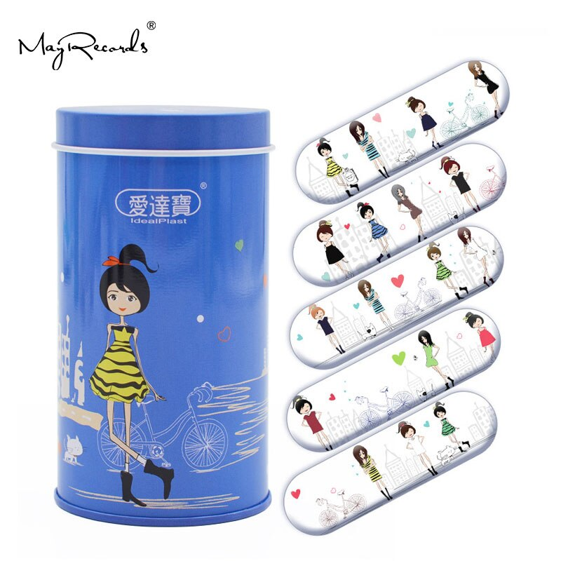 Envío Gratis, 50 Uds., vendajes adhesivos de Estilo de Mujeres impermeables de dibujos animados de PE para niñas y mujeres, tirita de primeros auxilios