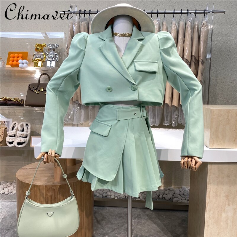 Sweet Style Suit Set 2021 New Puff Sleeve Suit and Side Button Pleated Skirt Solid Color Top Skirt tie back button detail cami top with skirt