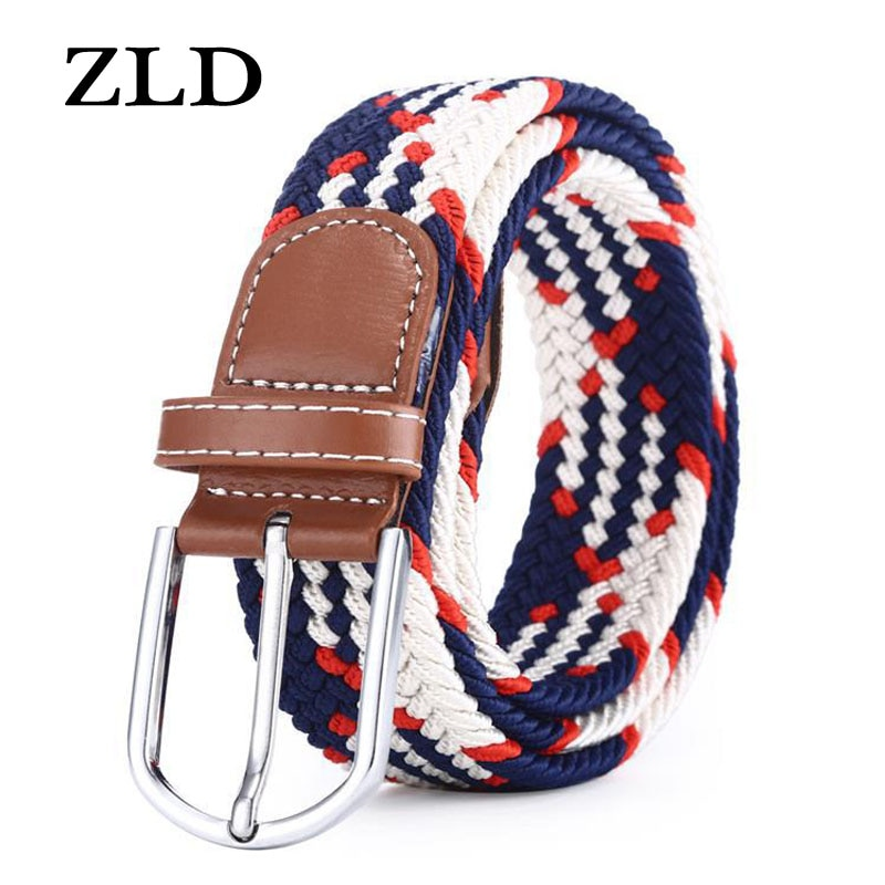 ZLD 60 Colors Men Women Casual Knitted Pin Buckle Belt Woven Canvas Elastic Expandable Braided Stretch Belts Plain Webbing Strap