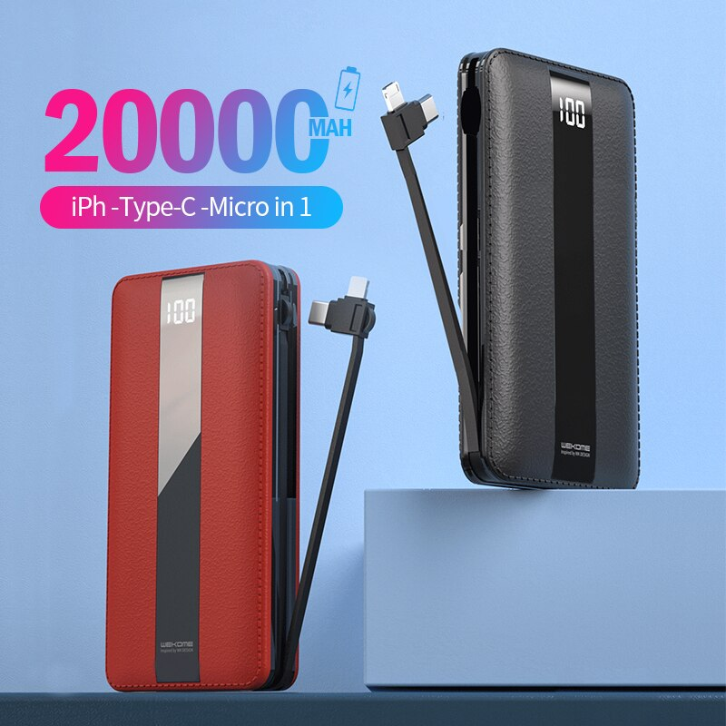 Banco de energía WEKOME 20000mAh mi ni banco de energía pantalla LED construido en Cable portátil Poverbank para iPhone Xiaomi mi batería externa