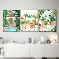 Affiche dart abstrait de dessin anime  piscine  Jungle tropicale marocaine  balancoire herbe  decoration de salon pour la maison