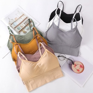 Summer Fashion Sexy Tank Tops Women Simple Design Seamless Tops with Removable Padded V Neck Lingerie Solid Color Soft Vest