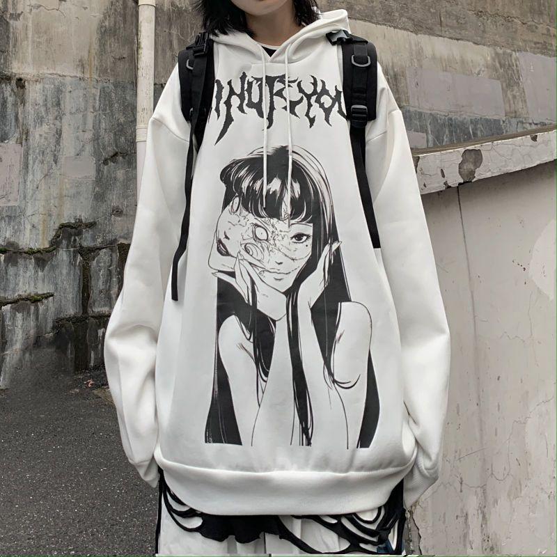 Толстовки для мужчин и женщин осень-зима темные граффити двухмерный мультяшный принт плюс бархатный с капюшоном студенческий принт