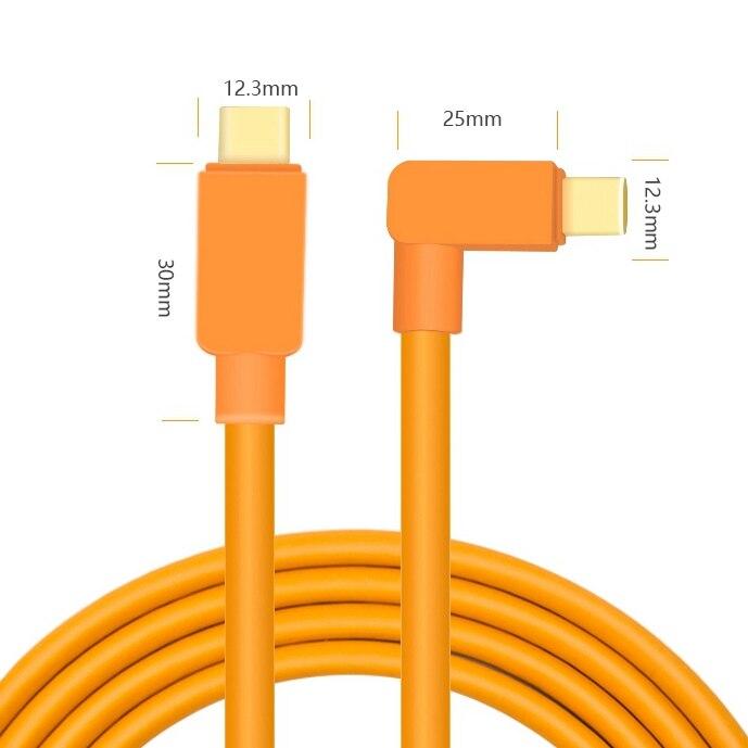 Cable tipo C a USB-C, 1,5 m-10m (5,5mm), diseño de codo naranja de alta visibilidad, línea de alta velocidad TX3 GFX50R GXF100 para Nikon Z6 Z7