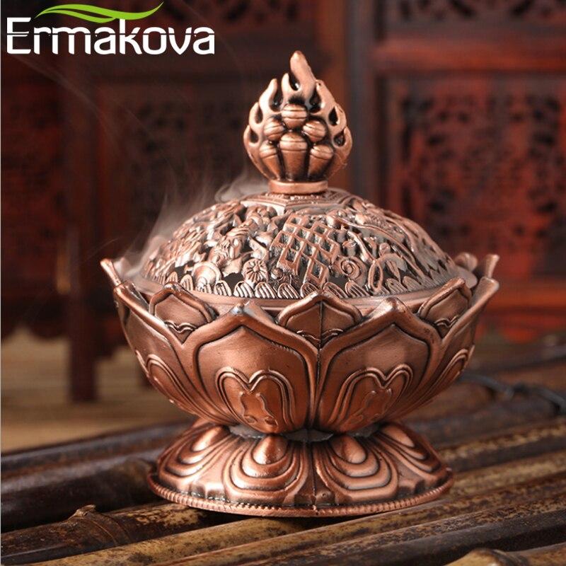 ERMAKOVA Цветок Лотоса Китайский сплав Будды металлическая горелка для благовоний держатель благовоний ручной работы чаша-курильница буддийское украшение для дома