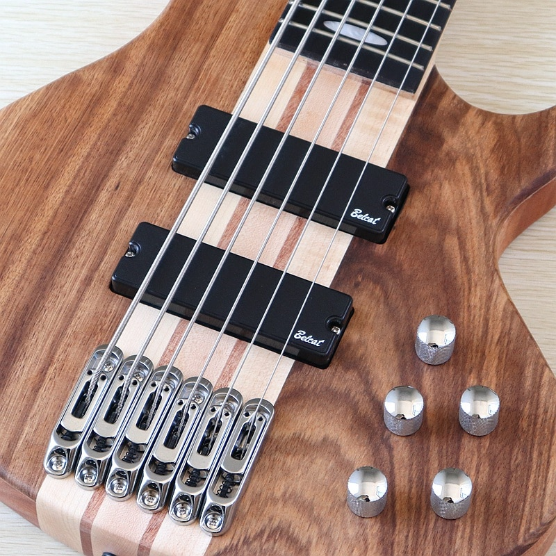 Professional 6 string electric bass guitar neck through solid okoume wood matte 43 inch bass guitar hickory top active guitar enlarge