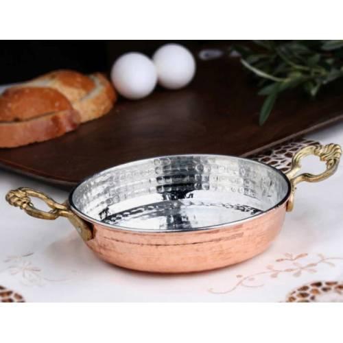 مقلاة عجة البيض من النحاس التركي التقليدي ، مقلاة ساهان بمقابض نحاسية ، وعاء نحاسي وشم يدوي ، مقلاة بيض