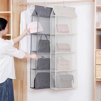 4 Pocket Hanging Handbag Organizer for Wardrobe Closet Transparent Storage Bag Door Wall Clear Sundry Shoe Bag with Hanger Pouch