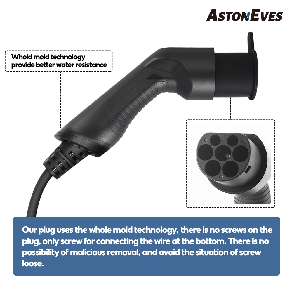 ASTON EV Charging Cable 32A 22KW 3 Phase Electric Vehicle Cord for Car Charger Station Type 2 Female to Male Plug IEC 62196 enlarge