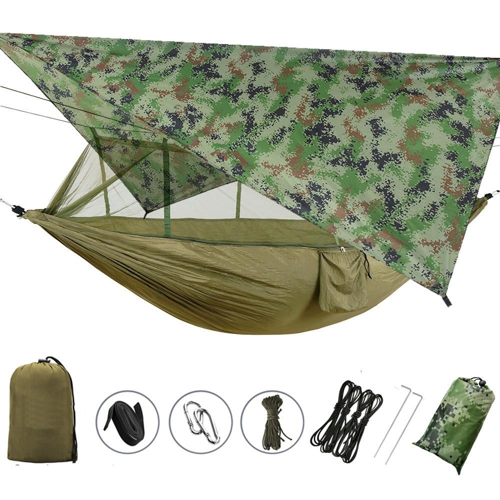 Waterproof sunshade canopy anti-mosquito hammock package Wild camping aerial swing hammock special shooting link