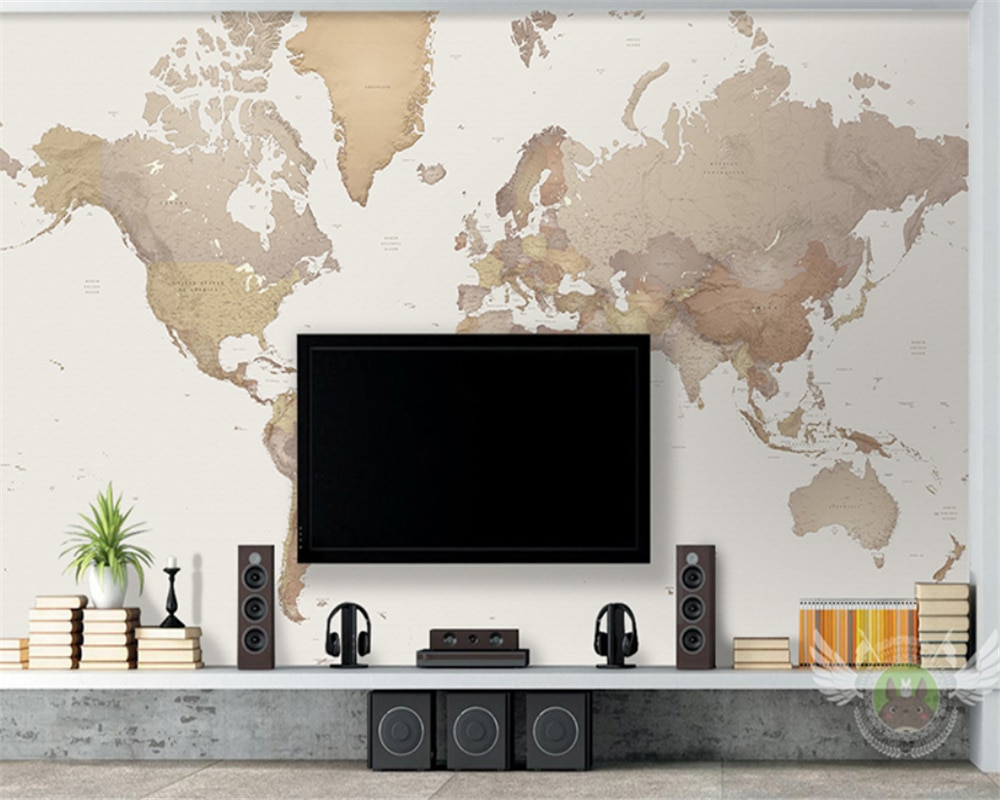 wallpaper sticker for living room for bedroom walls papier peint papel pintado de pared wall papers home bedroom decor beibehang Customized modern new world map living room study bedroom wallpaper papel de parede wall papers home decor