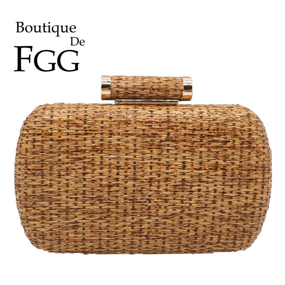 Boutique De FGG-حقيبة يد نسائية من القش ، حقيبة كتف مع سلسلة ، حقيبة سهرة