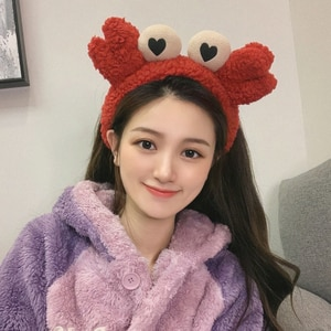 2021 Cute Big Eyes Headbands Soft Plush Wash Face Make up Hairbands Women Elastic Headband Head Wraps Fashion Hair Accessories