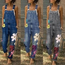 Women Rompers Fashion Denim Bib Pants Sexy Long Flower Print Rompers Bib Pants Jumpsuits Summer Jean