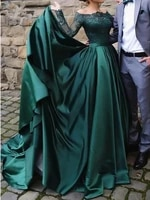 elegant muslim long sleeves lace emerald green evening dresses 2020 off the shoulder satin formal dress party ball gown