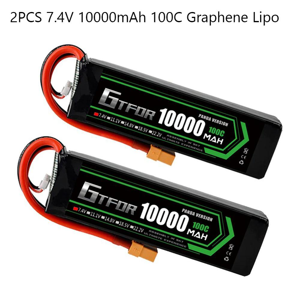 Gtfdr 2 pces lipo bateria 2s 7.4v 9300mah 10000mah 8400mah 7300mah 100c/200c 60c/120c 130c/260c 110c/220c para 1/5 1/8 rc barco carro