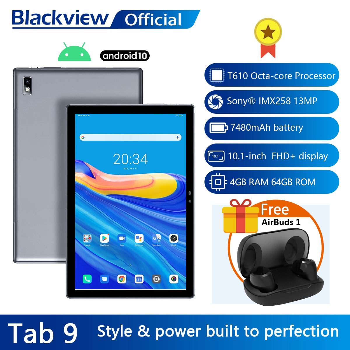 Blackview Tab 9 10.1'' Android 10 Tablet 1920x1200 Octa Core 4GB RAM 64GB ROM 4G Network 13MP Rear Camera 7480mAh Tablets PC