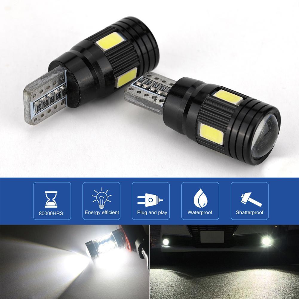 Adeeing 2pcs/4pcs/10pcs T10 LED Headlight Kit 6000K Low Beam White Lens Fog Marker Light - Black Car Auto Driving Lamp