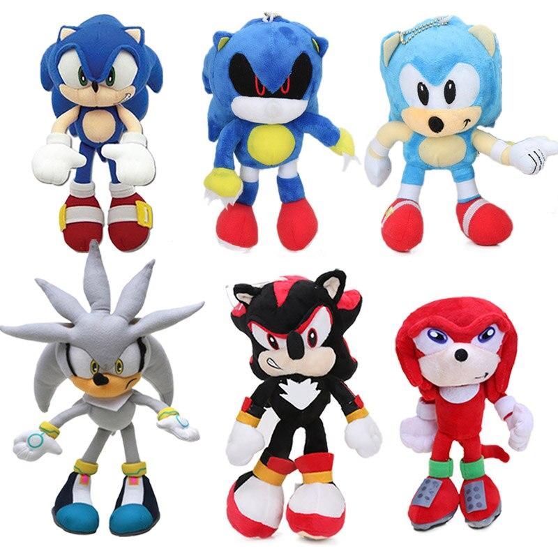 18-32cm azul super sonic o ouriço brinquedo de pelúcia brinquedos sonic sombra knuckles caudas bonito macio recheado bonecas chaveiro