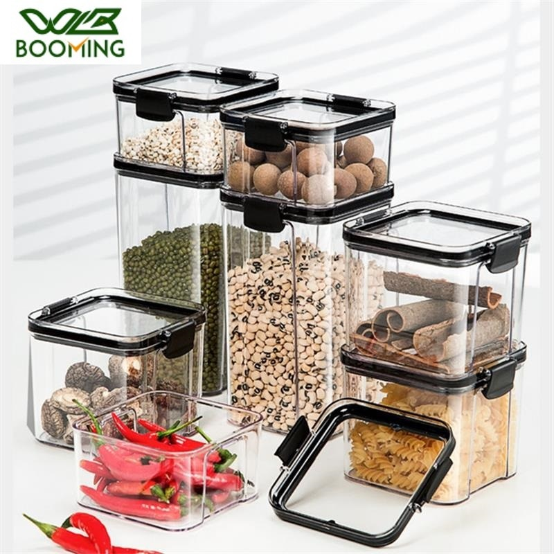 WBBOOMING 4 пластиковые герметичные банки разной емкости, Кухонный Контейнер для хранения, прозрачная пищевая банка, новый прозрачный контейнер...