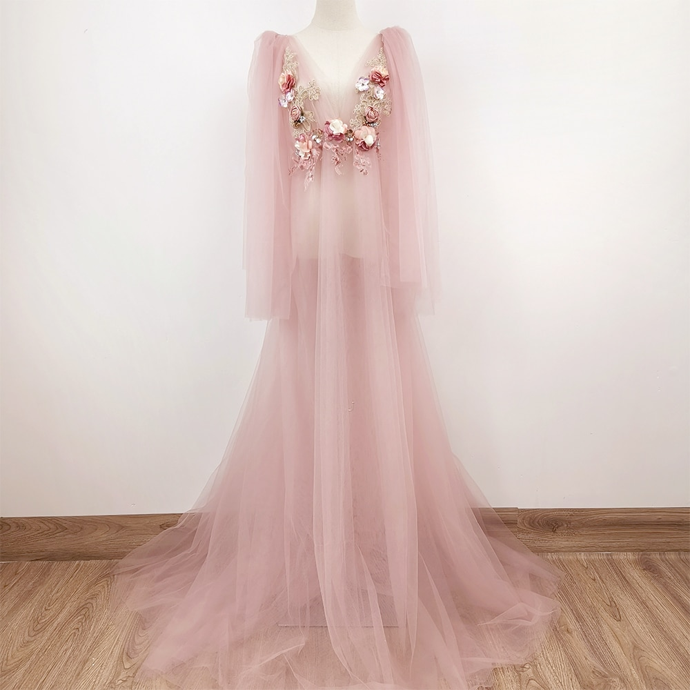 Don&Judy V Neck Embroidery Maternity Dresses Evening Prom Dresses Tulle Dress Party Gown for Photo Shoot Studio Photography Prop enlarge