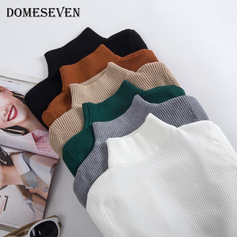 Korean Style Basic Turtleneck Knitting Bottoming Warm Sweaters 2020 Autumn Winter Women's Pullovers Solid Minimalist Cheap Tops