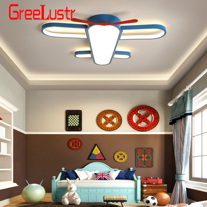 Lámpara de araña de lujo infantil para habitación de niñas lámpara de avión azul