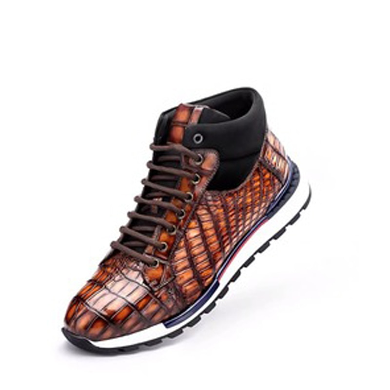 Chue-أحذية التمساح الرجالية ، أحذية عالية المساعدة ، أحذية ترفيهية كلاسيكية للرجال ، غير قابلة للانزلاق ، مقاومة للاهتراء