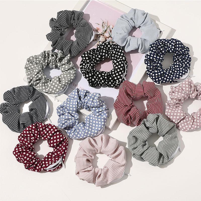 Scrunchies multifunción con cremallera para mujer, tela creativa, lazos elásticos para el pelo, alta calidad, bolsillo, Scrunchies