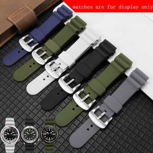 22mm Waterproof Silicone Watchband Black White Gray Strap Replace Men's Watch Accessories Soft Rubber Bracelet Give Tool